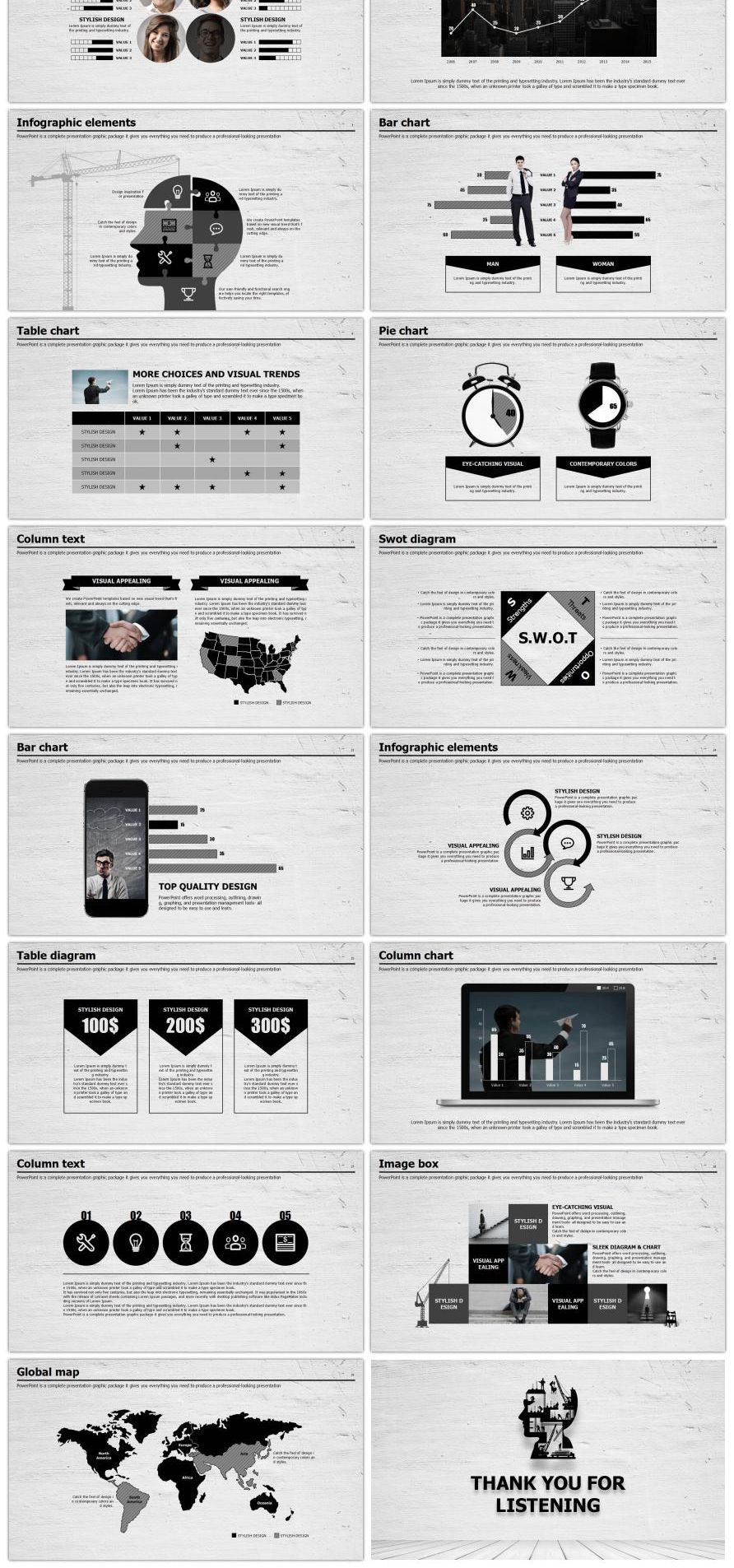 Gray Wall Ash Board Black Ash Business PPT Template
