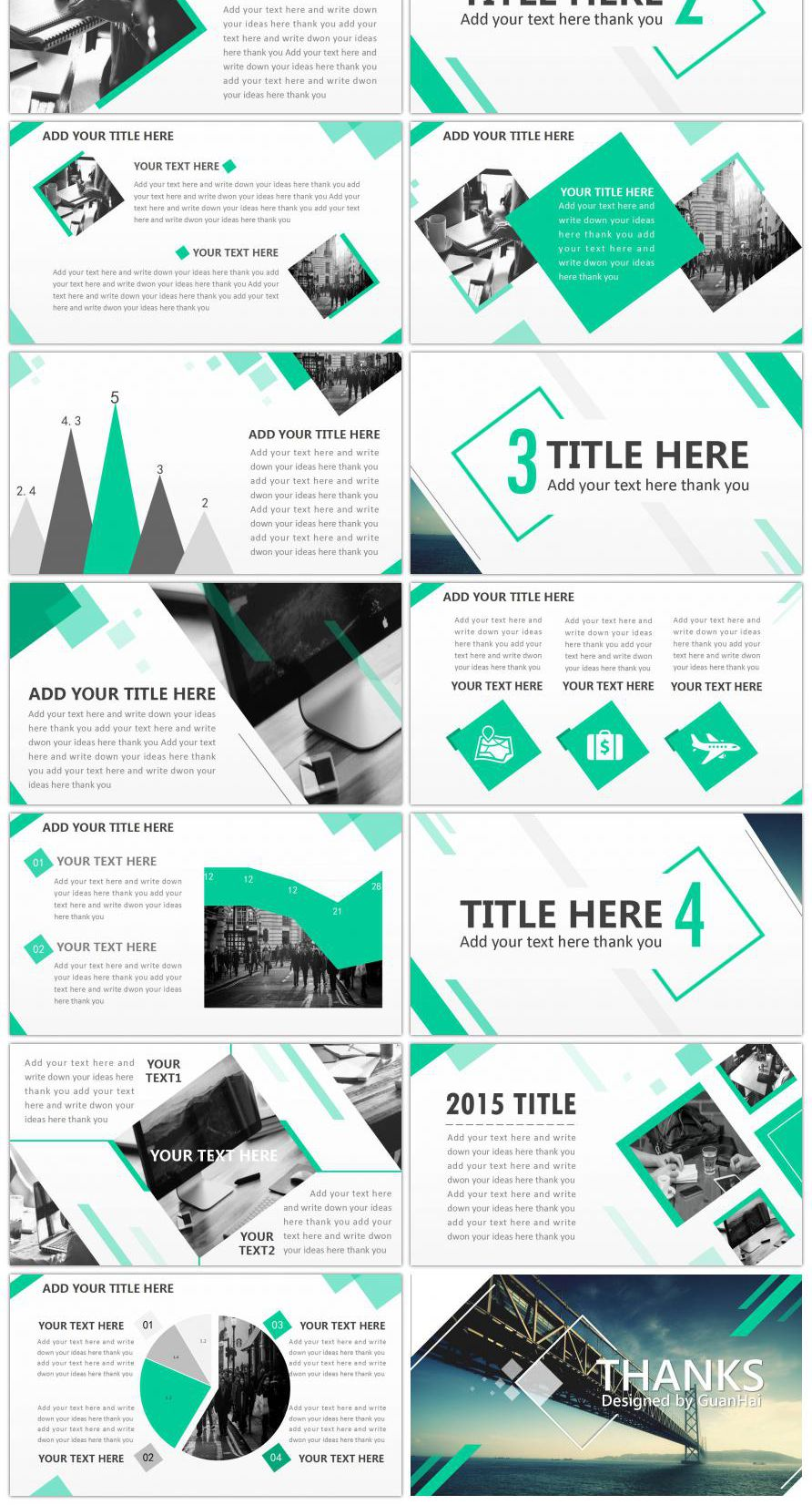 European And American Series Full Animation Business Template