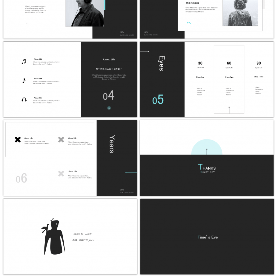 awesome simplified black and white fashion art ppt template for