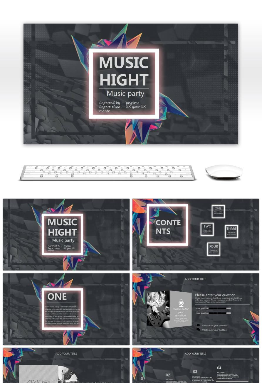 Black Ash European Fashion Music Festival Dynamic PPT Template