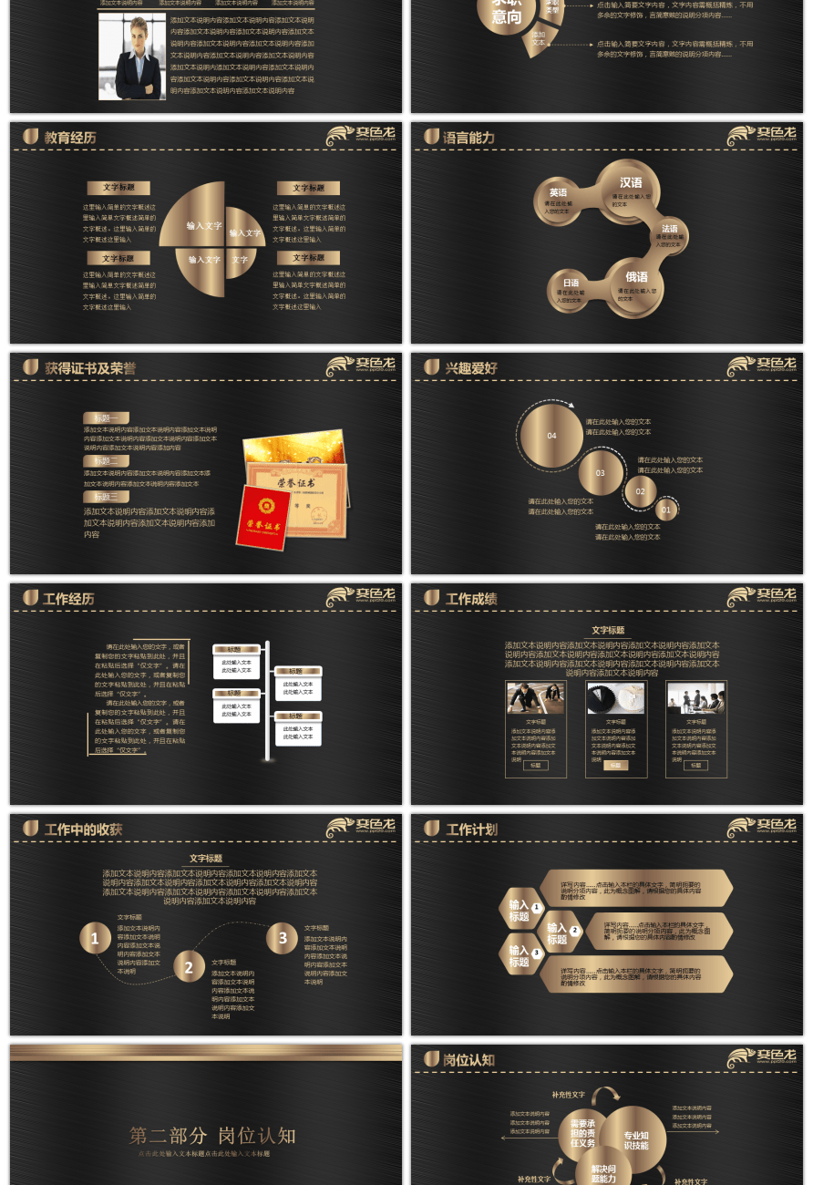 Awesome black gold color matching resume ppt template for Free ...