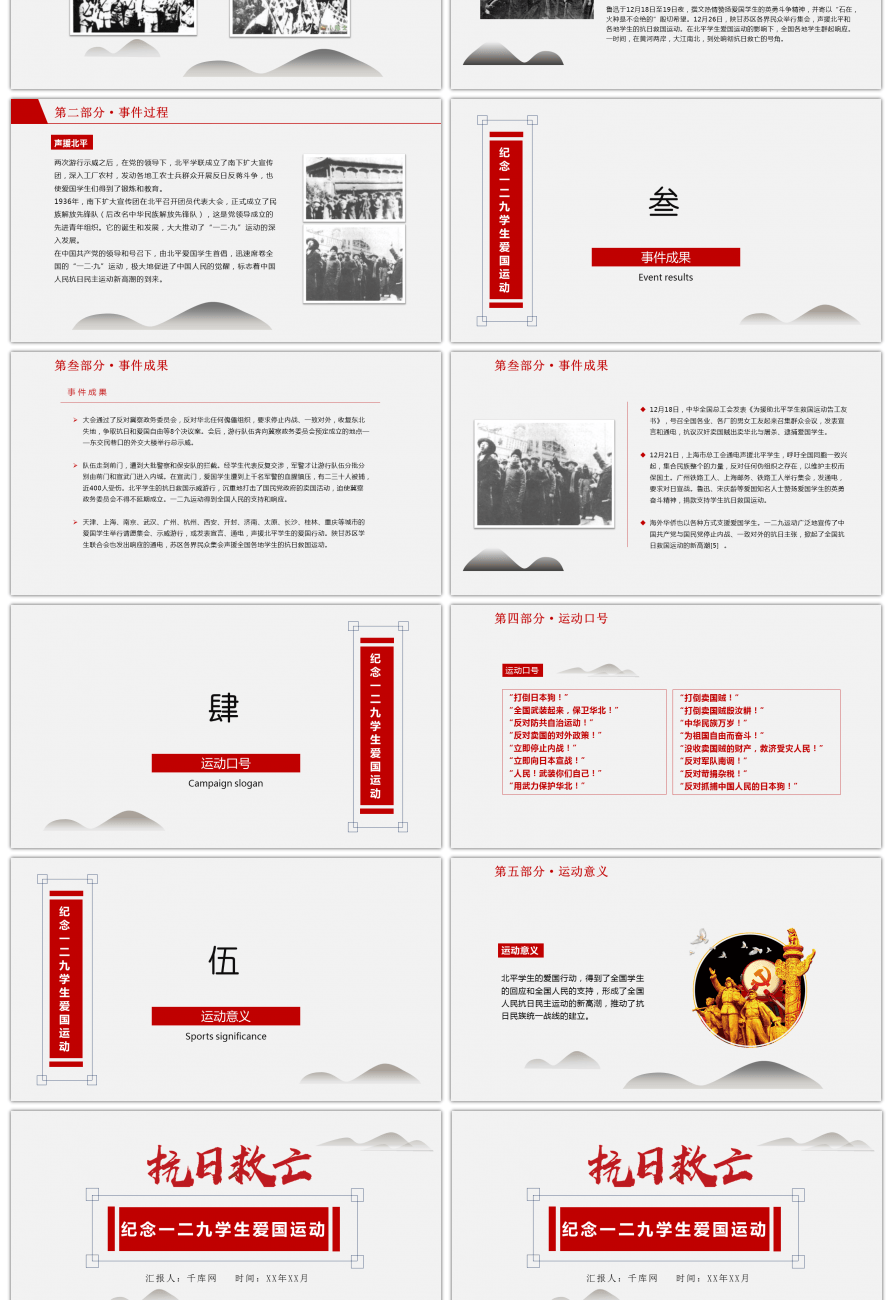 Awesome Ppt Template Commemorating The Patriotic Movement Of 129
