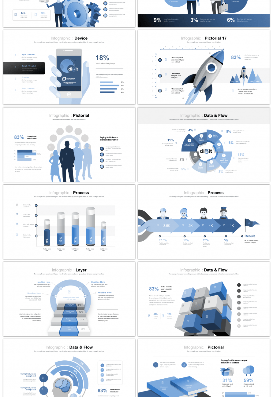 Awesome 30 sets of blue contrast relationship ppt charts ...