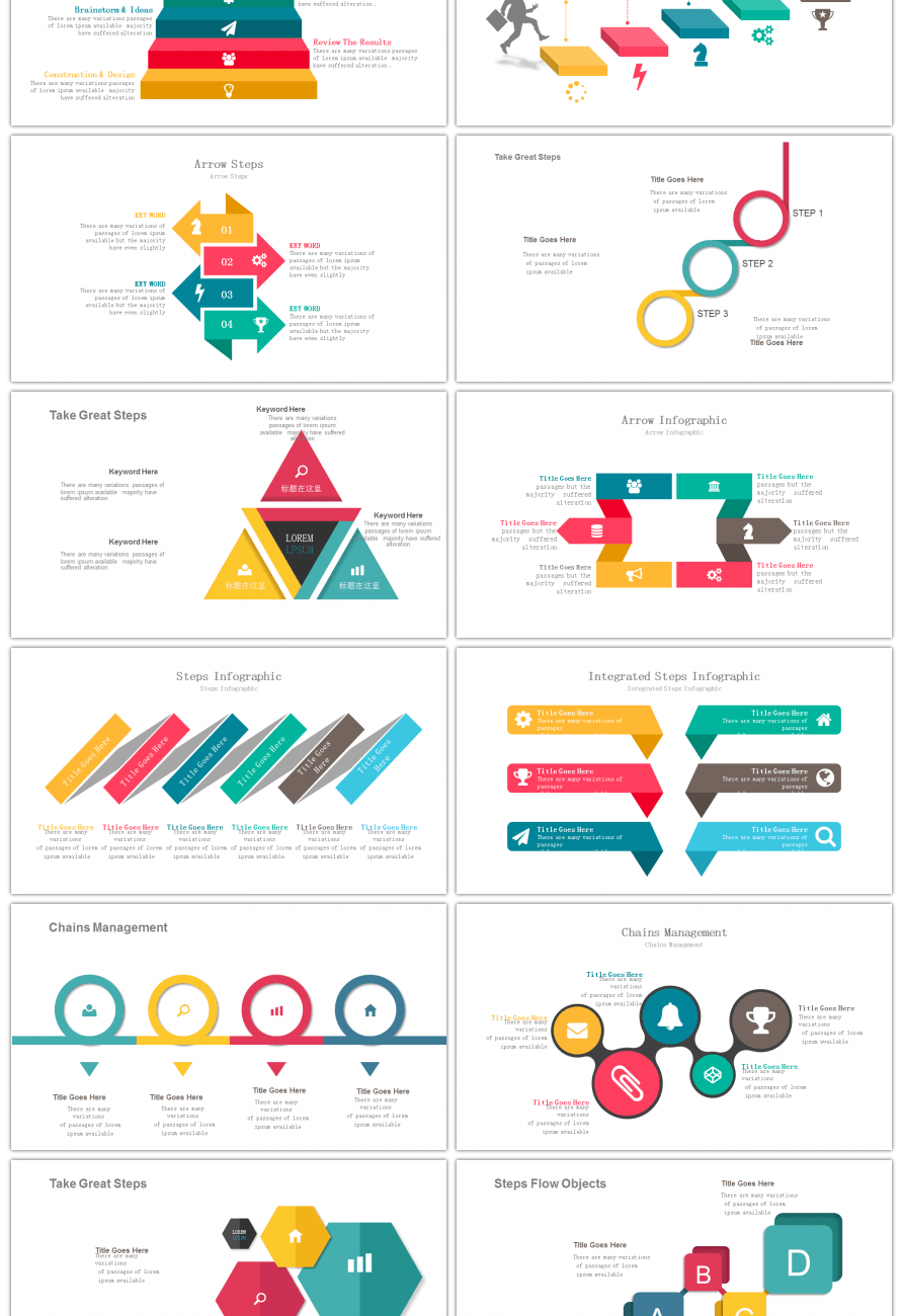 Awesome 30 Sets Of Colorful Collection Hierarchical Structure Steps Diagrams For Powerpoint Presentations Download Now The Ppt Chart