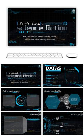 Black atmospheric science fiction fashion PPT template