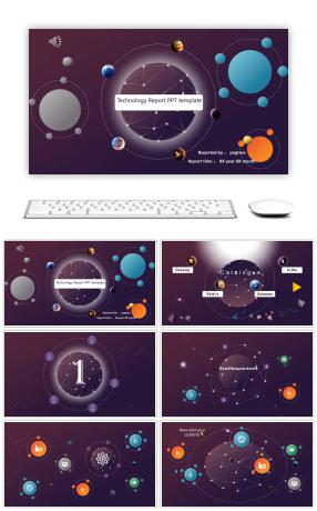 Point line constellation low surface wind meteorite creative technology report ppt template