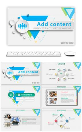 6 micro stereoscopic wind powerpoint templates for unlimited