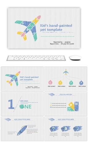 The plane's hand-painted crayon wind ppt template