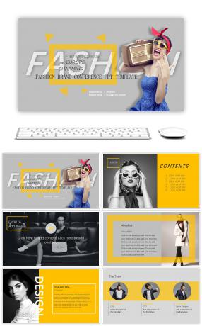Magazine wind back antiquity, European and American simple fashion PPT template