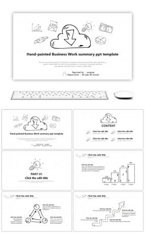 A summary of the black-and-white minimalist hand-painted business summary company PPT
