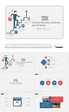Summary of business summary report work summary PPT template