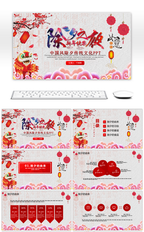 The introduction of the traditional culture of Chinese wind on the new year's Eve PPT template