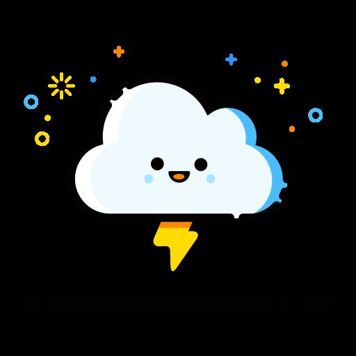 Cloud Lightning, Flat, Hand Icon