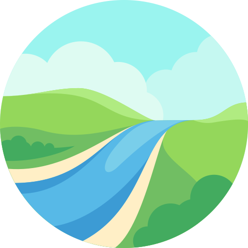 River, Mountain, Nature Icon