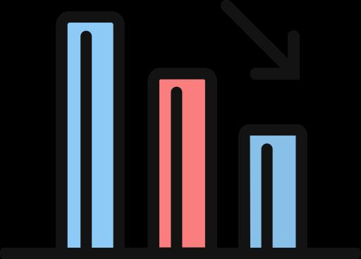 Performance Decline, Decline, Decrease Icon