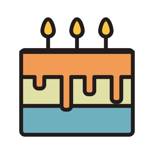 Birthday Cake, Fill, Linear Icon