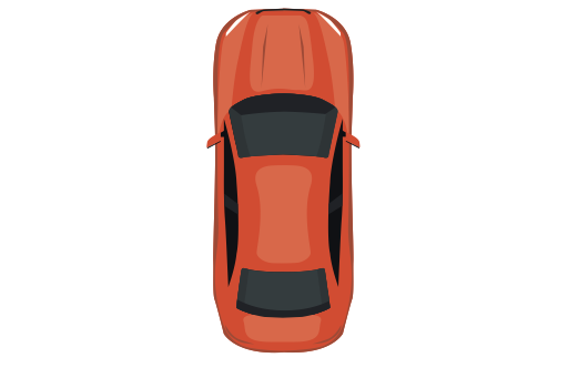 Top View Of The Red Car, Red, Settings Icon