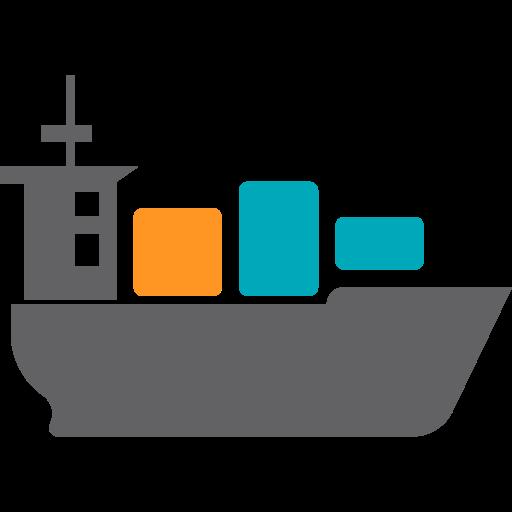 Ocean Shipping, Flat, Multicolor Icon