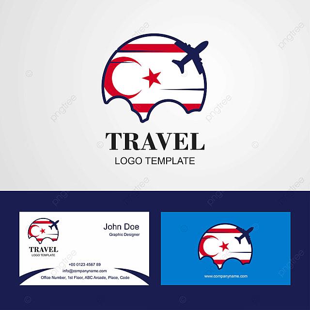 Logo De Voyage La Carte Visite Du Nord Chypre Et Conception Drapeau