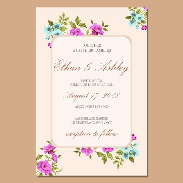 wedding invitation floral invite card design  template for