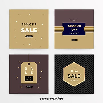 brown gold commercial shopping sns promotion banner set Template