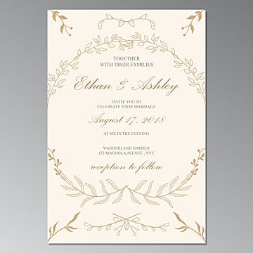 Blue Wedding Invitation Card Template Psd With Gold Frame