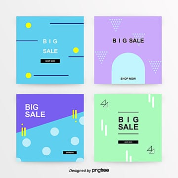 sns promotion banner set simple cold colors Template