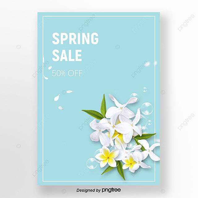 Flores Da Primavera Promoção Cartaz Azul E Branco Modelo