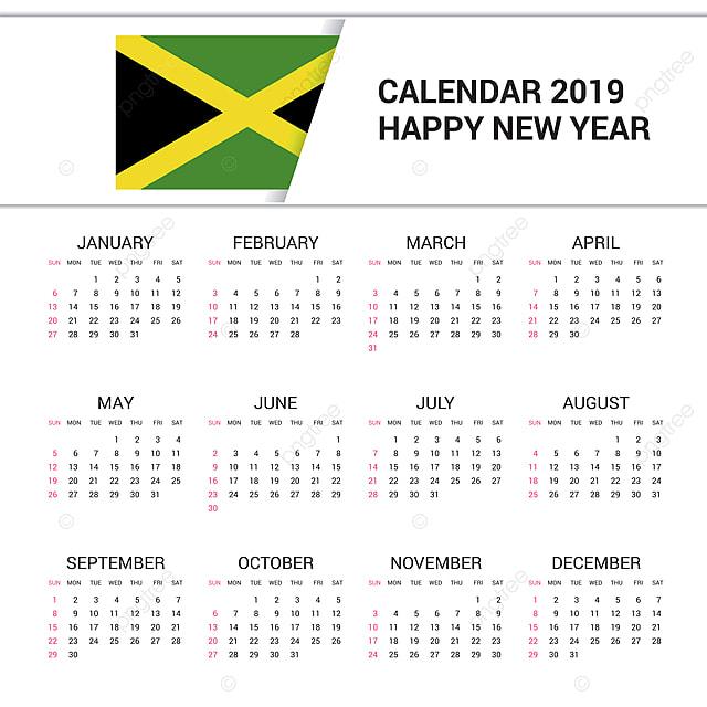 Calendario 2019 English.Calendar 2019 Jamaica Flag Background English Language