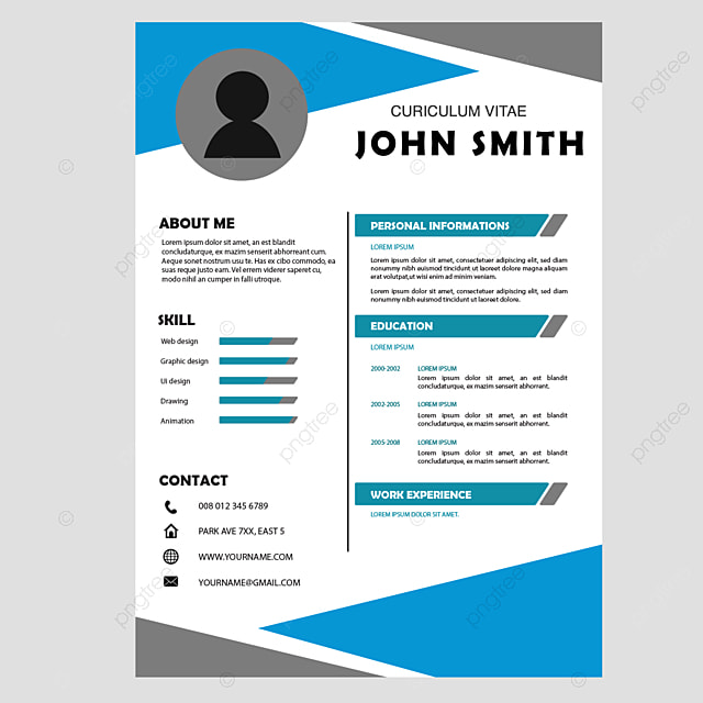 curiculum vitae cv triangle blue gray template for free