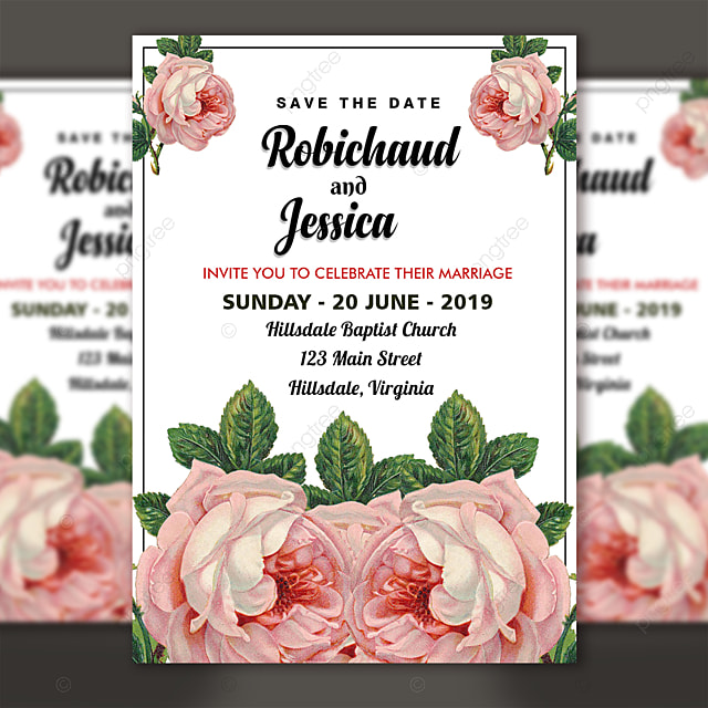 Floral Wedding Invitation Template Psd File For Free