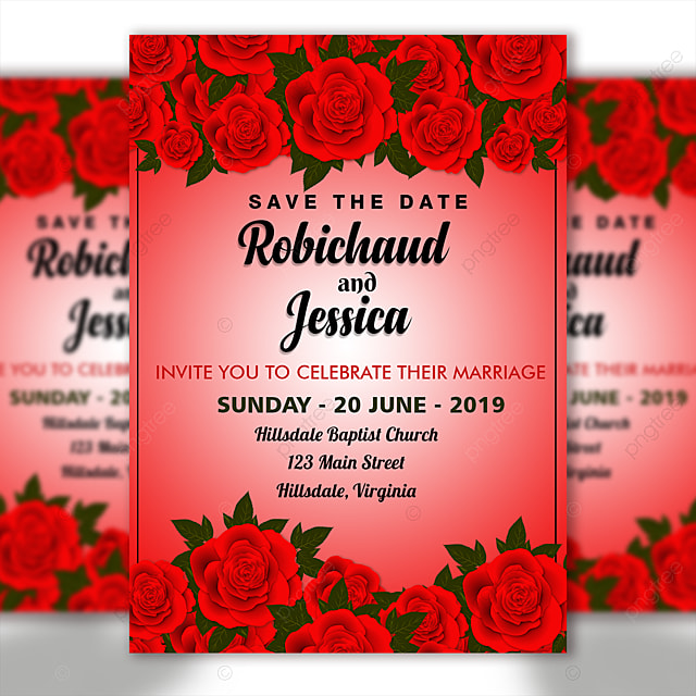 Red Flower Wedding Invitation Card Template With Background