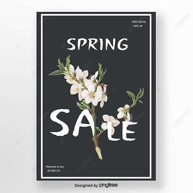 Preto De Flores Da Primavera Promoção Cartaz Minimalista