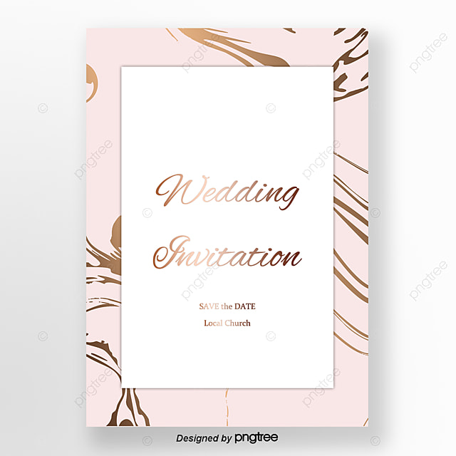 Pink Simple Rose Gold Marble Wedding Invitation Letter Template For