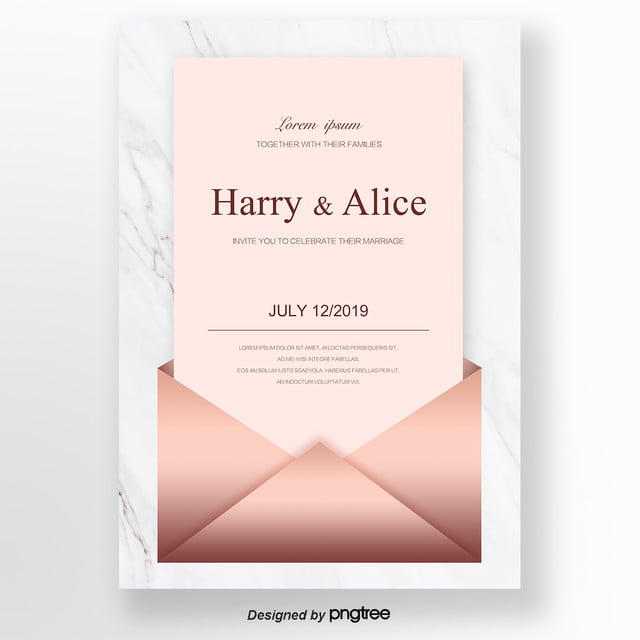 Rose Golden Brief Wedding Invitation Letter Template For Free