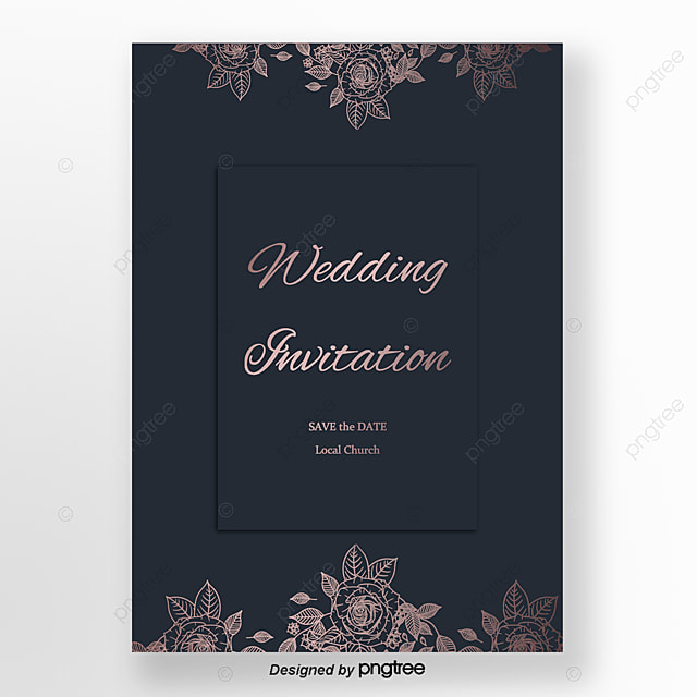 Blue Delicate Rose Wedding Invitation Letter Template For Free