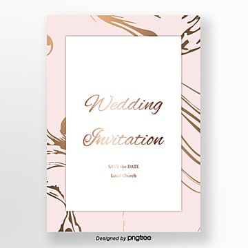 pink simple rose gold marble wedding invitation letter Template