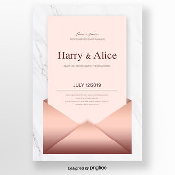rose golden brief wedding invitation letter wedding menu Template