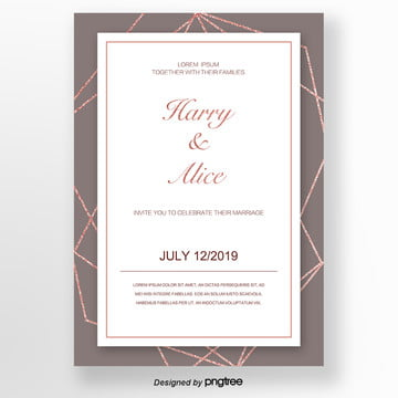 invitation letter of rose gold with brown texture lines Template