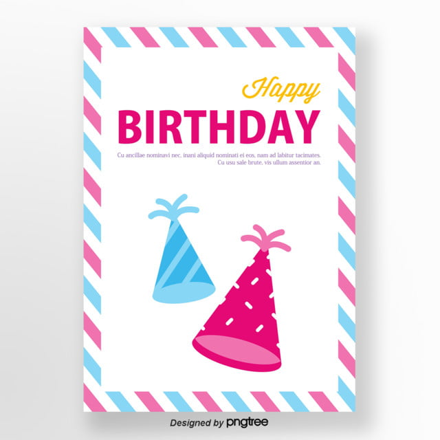 Red And Blue Happy Birthday Hat Poster Template
