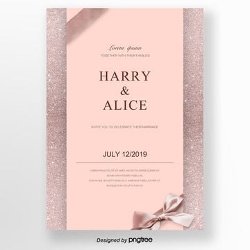 rose gold concise high end exquisite invitation letter wedding menu Template
