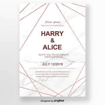 white simple rose gold creative line invitation letter wedding menu Template