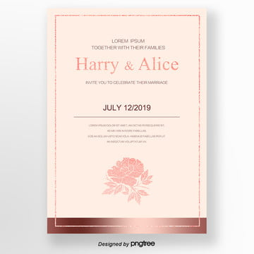 invitation letter for orange concise rose and gold Template