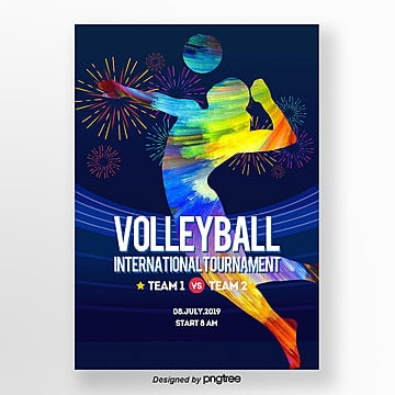 modern fashion color volleyball sports propaganda poster Template
