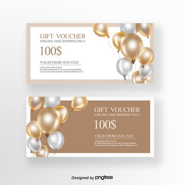white brown exquisite balloon shopping gift certificate Template