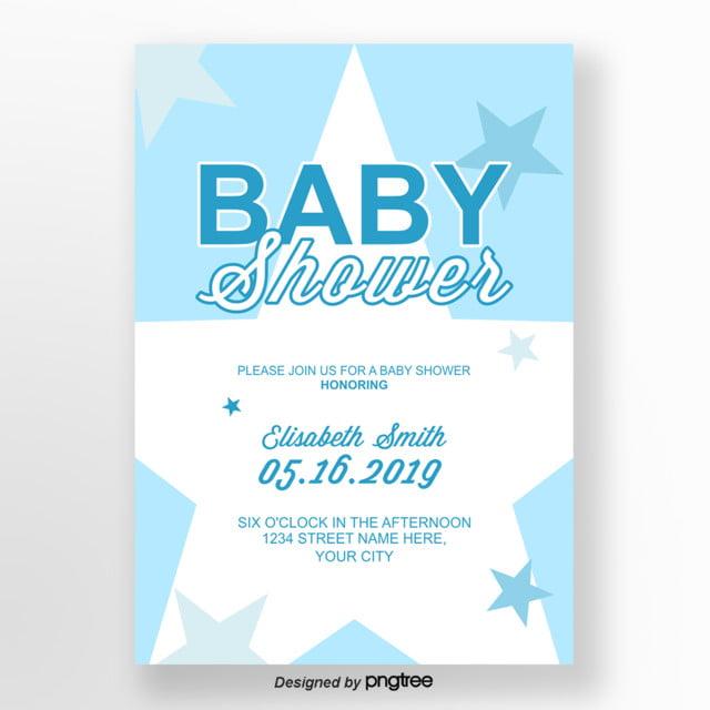 Light Blue Lovely Baby Shower Invitation Letter Template For Free