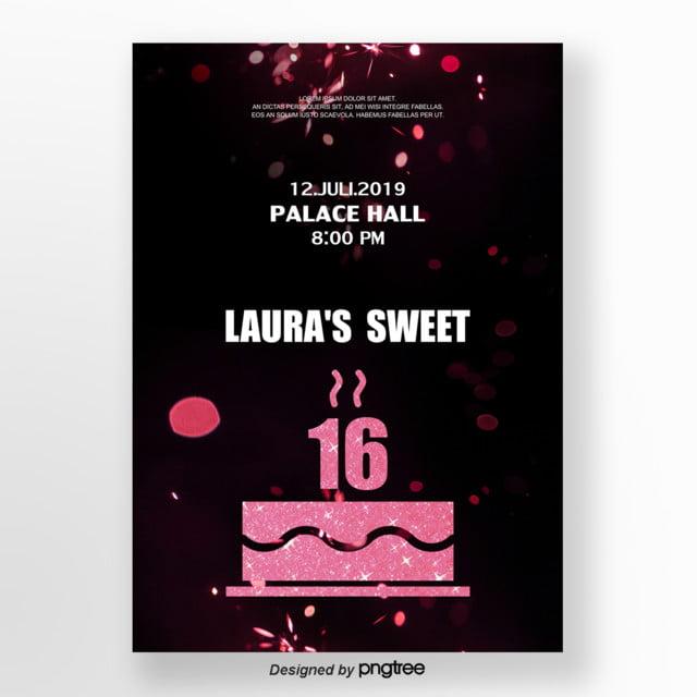 Invitation Letter For Rose Golden Cake 16 Template For Free Download