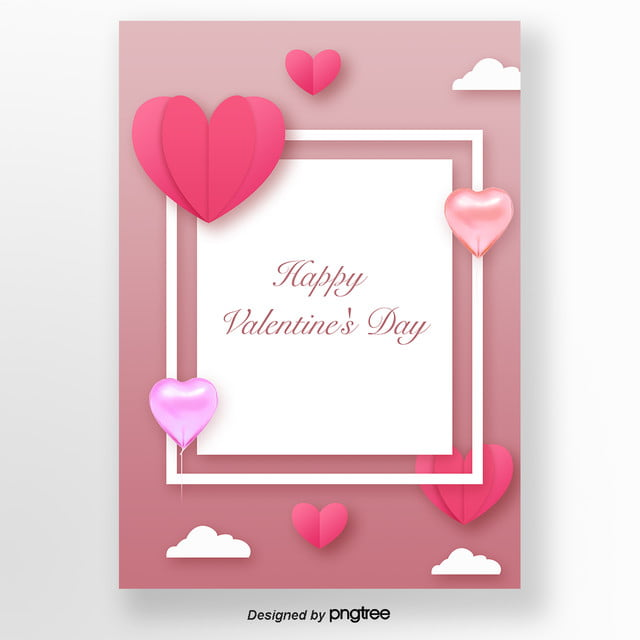 pink romantic flat valentines day card template for free