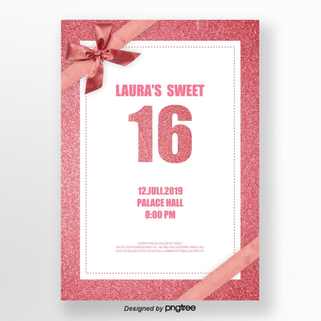Rose Gold Texture Letter 16 Invitation Letter Template For Free