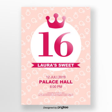 pink lovely crown 16 invitation letter Template